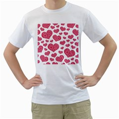 Heart Love Pink Back Men s T-Shirt (White) (Two Sided)