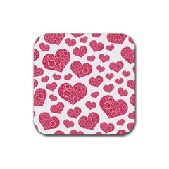 Heart Love Pink Back Rubber Square Coaster (4 pack)
