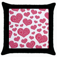 Heart Love Pink Back Throw Pillow Case (Black)