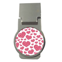 Heart Love Pink Back Money Clips (Round)