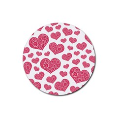 Heart Love Pink Back Rubber Round Coaster (4 pack)