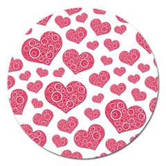 Heart Love Pink Back Magnet 5  (Round)
