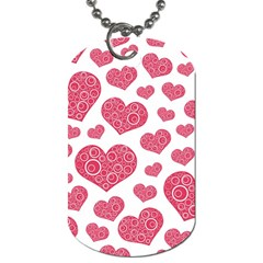 Heart Love Pink Back Dog Tag (Two Sides)