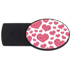 Heart Love Pink Back USB Flash Drive Oval (1 GB)