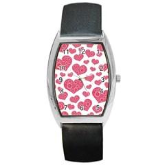 Heart Love Pink Back Barrel Style Metal Watch