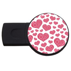 Heart Love Pink Back USB Flash Drive Round (4 GB)