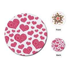 Heart Love Pink Back Playing Cards (Round)