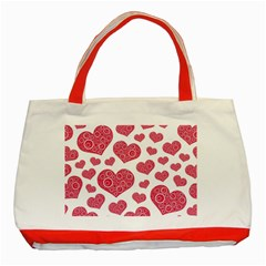 Heart Love Pink Back Classic Tote Bag (Red)