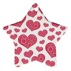 Heart Love Pink Back Star Ornament (Two Sides)