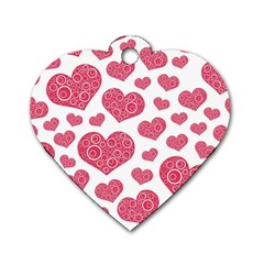 Heart Love Pink Back Dog Tag Heart (Two Sides)