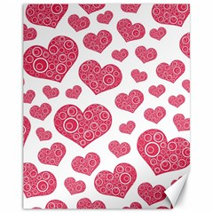 Heart Love Pink Back Canvas 11  x 14