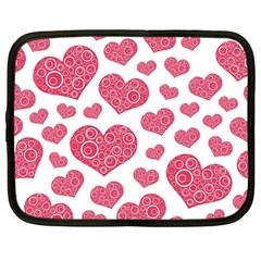 Heart Love Pink Back Netbook Case (Large)