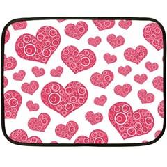 Heart Love Pink Back Double Sided Fleece Blanket (Mini)