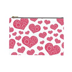 Heart Love Pink Back Cosmetic Bag (Large)