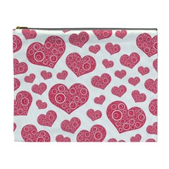 Heart Love Pink Back Cosmetic Bag (XL)