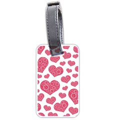 Heart Love Pink Back Luggage Tags (Two Sides)
