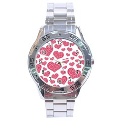 Heart Love Pink Back Stainless Steel Analogue Watch