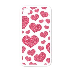 Heart Love Pink Back Apple iPhone 4 Case (White)