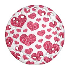 Heart Love Pink Back Ornament (Round Filigree)