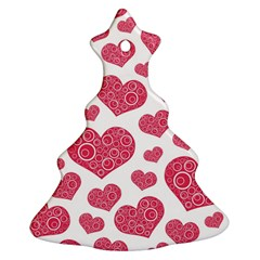 Heart Love Pink Back Christmas Tree Ornament (2 Sides)