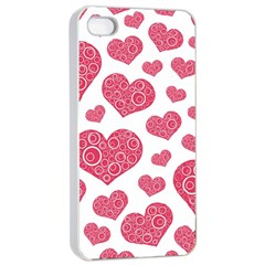 Heart Love Pink Back Apple iPhone 4/4s Seamless Case (White)