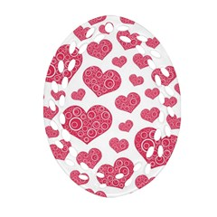 Heart Love Pink Back Oval Filigree Ornament (2-Side)