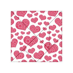 Heart Love Pink Back Acrylic Tangram Puzzle (4  x 4 )