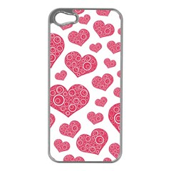 Heart Love Pink Back Apple iPhone 5 Case (Silver)
