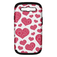Heart Love Pink Back Samsung Galaxy S III Hardshell Case (PC+Silicone)