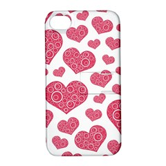Heart Love Pink Back Apple iPhone 4/4S Hardshell Case with Stand