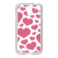 Heart Love Pink Back Samsung GALAXY S4 I9500/ I9505 Case (White)