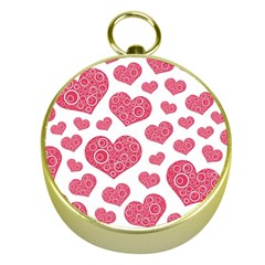 Heart Love Pink Back Gold Compasses