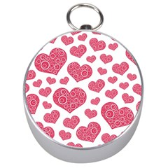 Heart Love Pink Back Silver Compasses