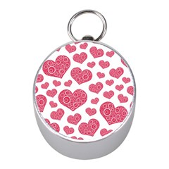 Heart Love Pink Back Mini Silver Compasses