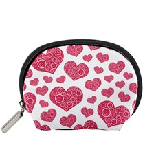 Heart Love Pink Back Accessory Pouches (Small)