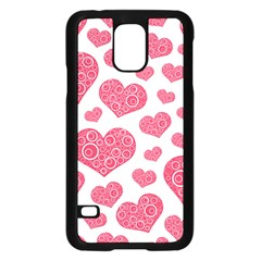 Heart Love Pink Back Samsung Galaxy S5 Case (Black)