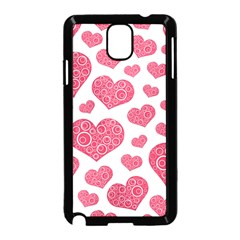 Heart Love Pink Back Samsung Galaxy Note 3 Neo Hardshell Case (Black)