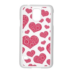 Heart Love Pink Back Samsung Galaxy S5 Case (White)