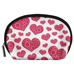 Heart Love Pink Back Accessory Pouches (Large)