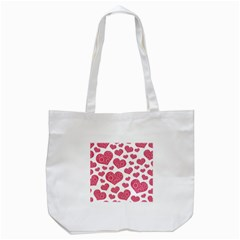 Heart Love Pink Back Tote Bag (White)