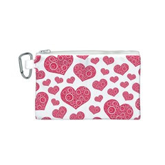Heart Love Pink Back Canvas Cosmetic Bag (S)