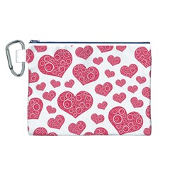 Heart Love Pink Back Canvas Cosmetic Bag (L)