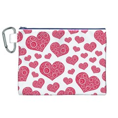 Heart Love Pink Back Canvas Cosmetic Bag (XL)