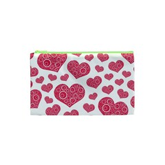 Heart Love Pink Back Cosmetic Bag (XS)