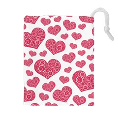 Heart Love Pink Back Drawstring Pouches (Extra Large)