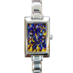 Network Blue Color Abstraction Rectangle Italian Charm Watch