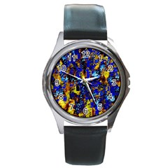 Network Blue Color Abstraction Round Metal Watch