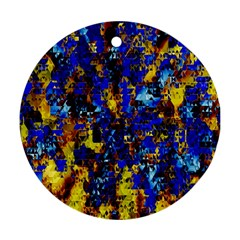 Network Blue Color Abstraction Ornament (Round)