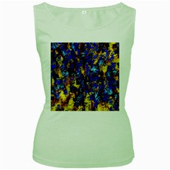 Network Blue Color Abstraction Women s Green Tank Top