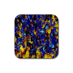 Network Blue Color Abstraction Rubber Square Coaster (4 pack)